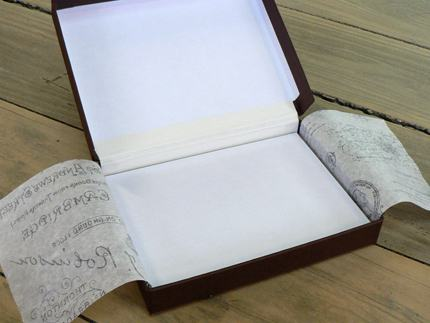 Hinged lid box with white calico hinge, platform and tissue flysheets